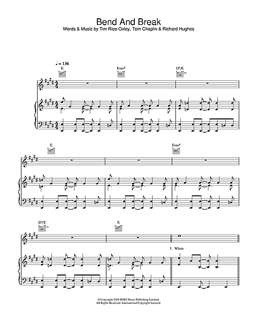 Keane Bend And Break sheet music notes printable PDF score