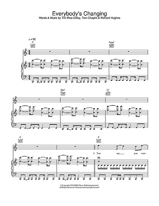 Keane Everybody's Changing sheet music notes printable PDF score