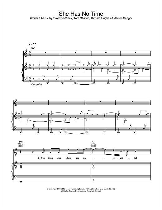 Keane She Has No Time sheet music notes printable PDF score