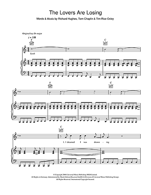 Keane The Lovers Are Losing sheet music notes printable PDF score