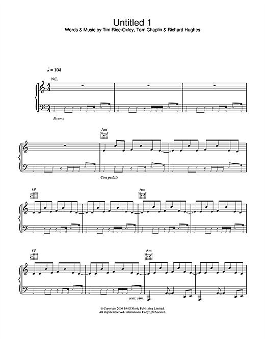 Keane Untitled 1 sheet music notes printable PDF score