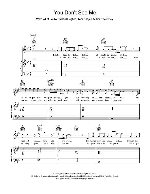 Keane You Don't See Me sheet music notes printable PDF score