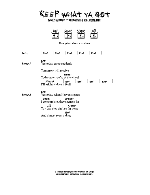 Ian Brown Keep What Ya Got sheet music notes printable PDF score
