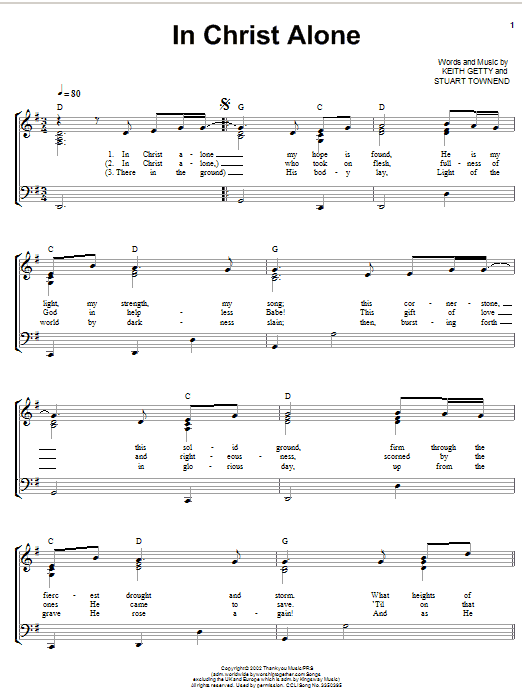 Keith & Kristyn Getty In Christ Alone sheet music notes and chords. Download Printable PDF.