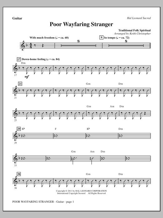 Keith Christopher Poor Wayfaring Stranger - Guitar sheet music notes printable PDF score