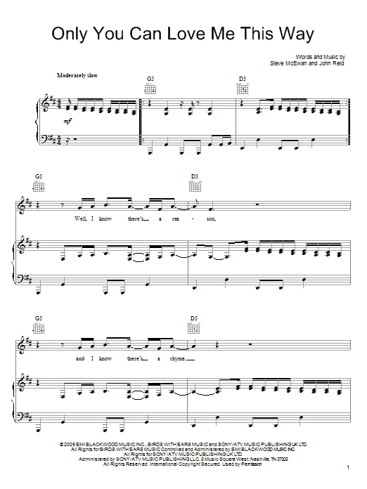Keith Urban Only You Can Love Me This Way sheet music notes and chords. Download Printable PDF.