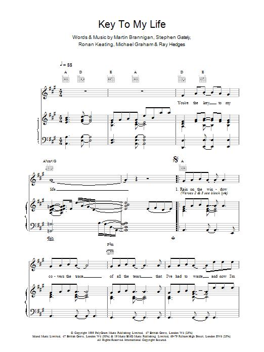 Boyzone Key To My Life sheet music notes printable PDF score