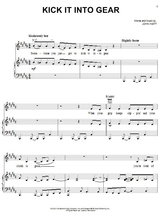 John Hiatt Kick It Into Gear (from The Country Bears) sheet music notes printable PDF score