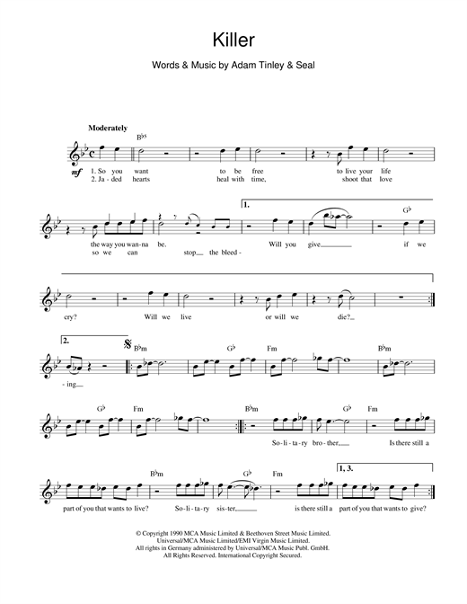 Seal Killer sheet music notes printable PDF score