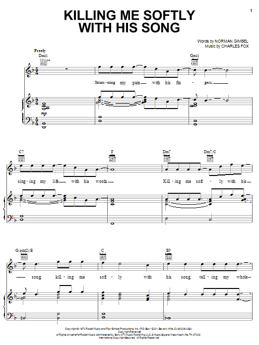 Fugees Killing Me Softly With His Song sheet music notes printable PDF score