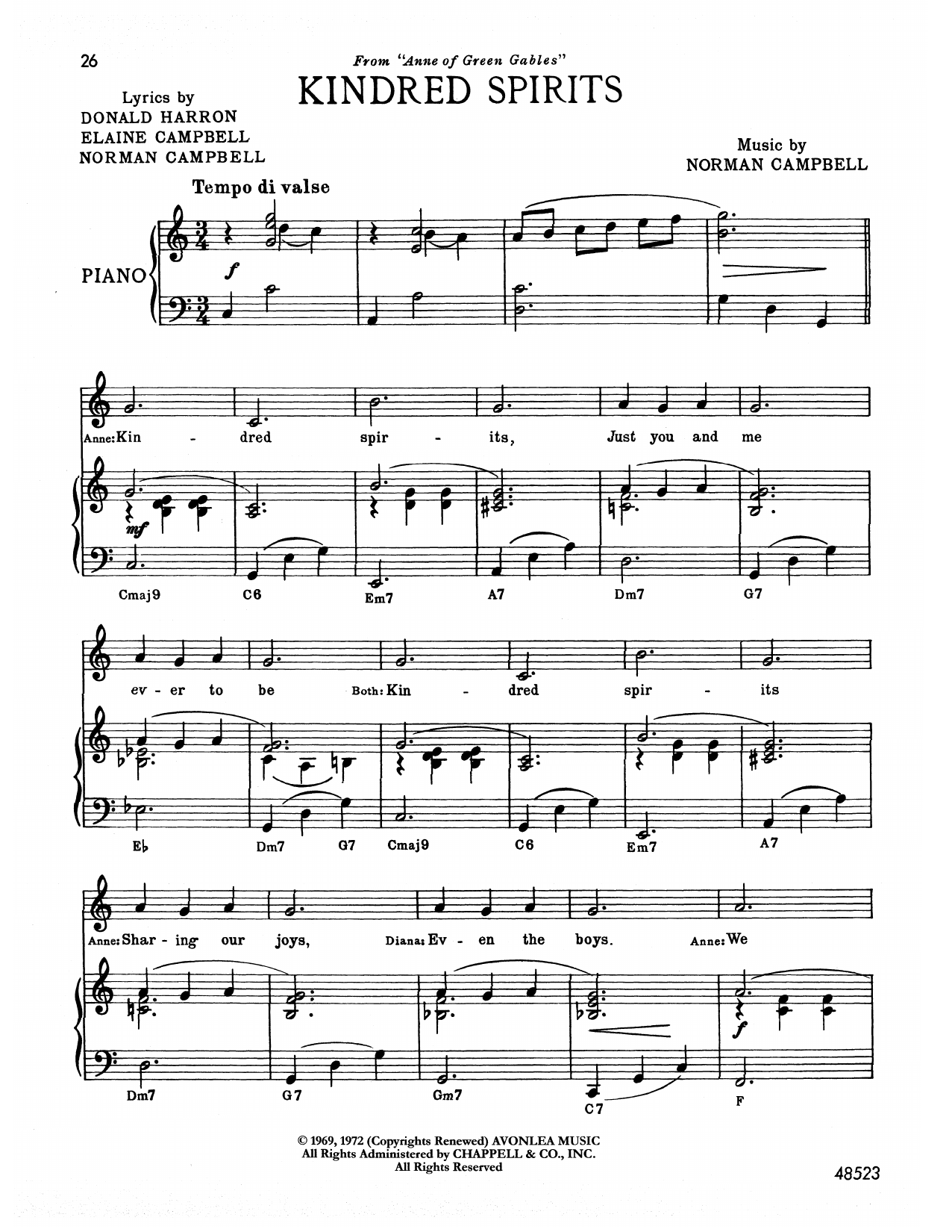 Norman Campbell Kindred Spirits (from Anne Of Green Gables) sheet music notes printable PDF score