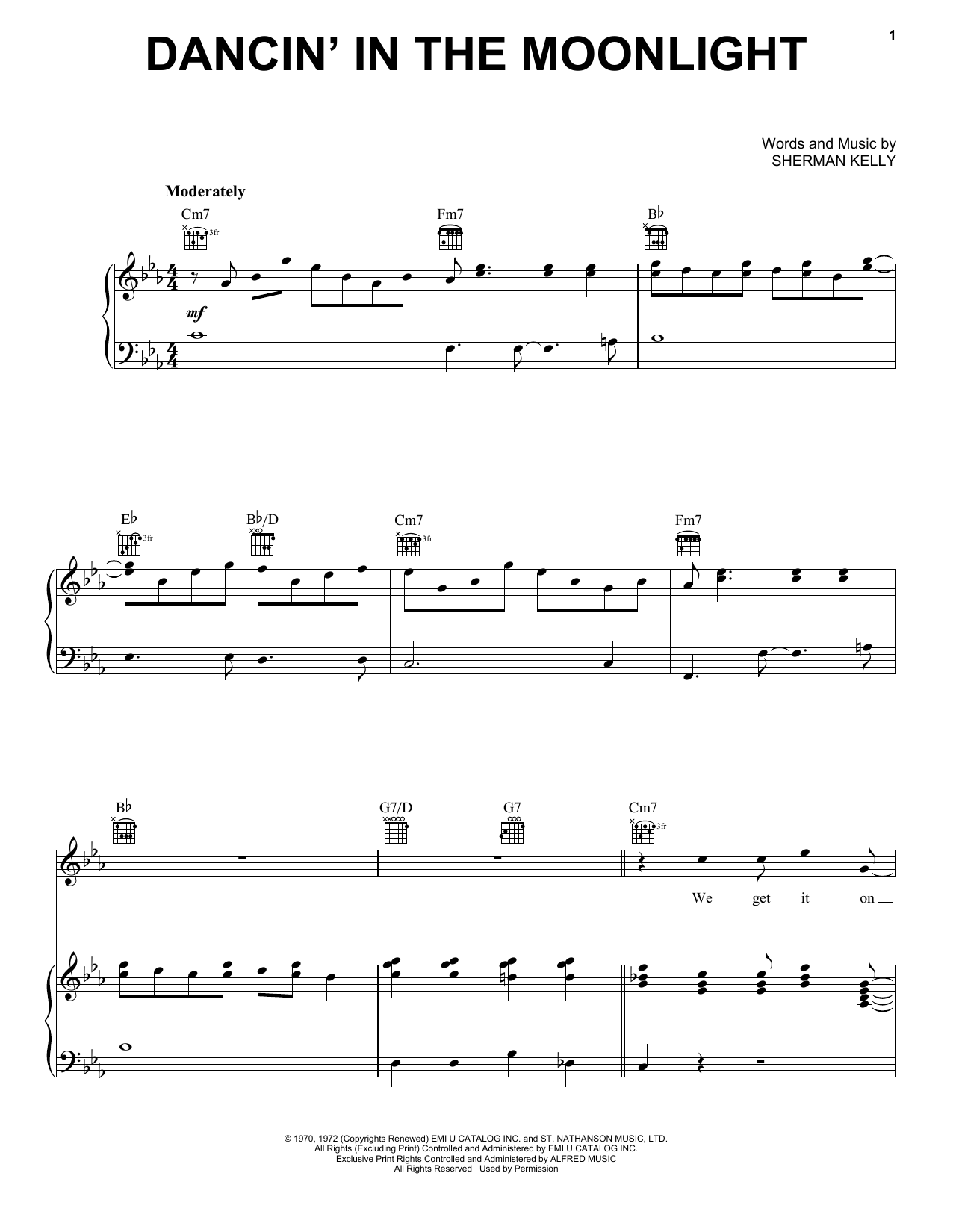 King Harvest Dancin' In The Moonlight sheet music notes and chords - download printable PDF.