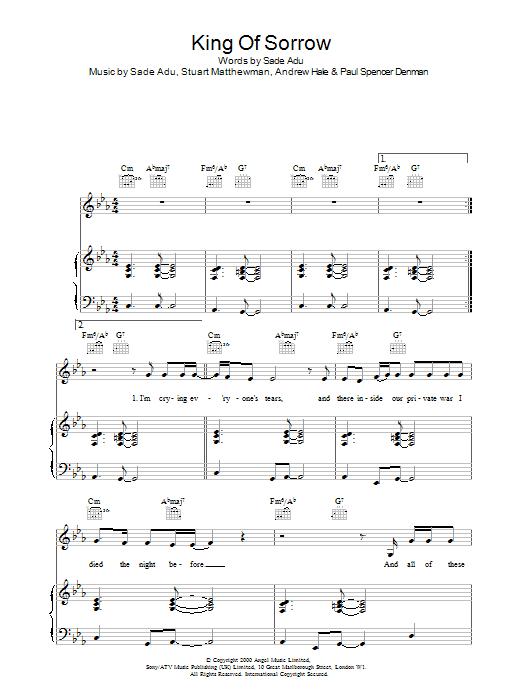 Sade King Of Sorrow sheet music notes printable PDF score