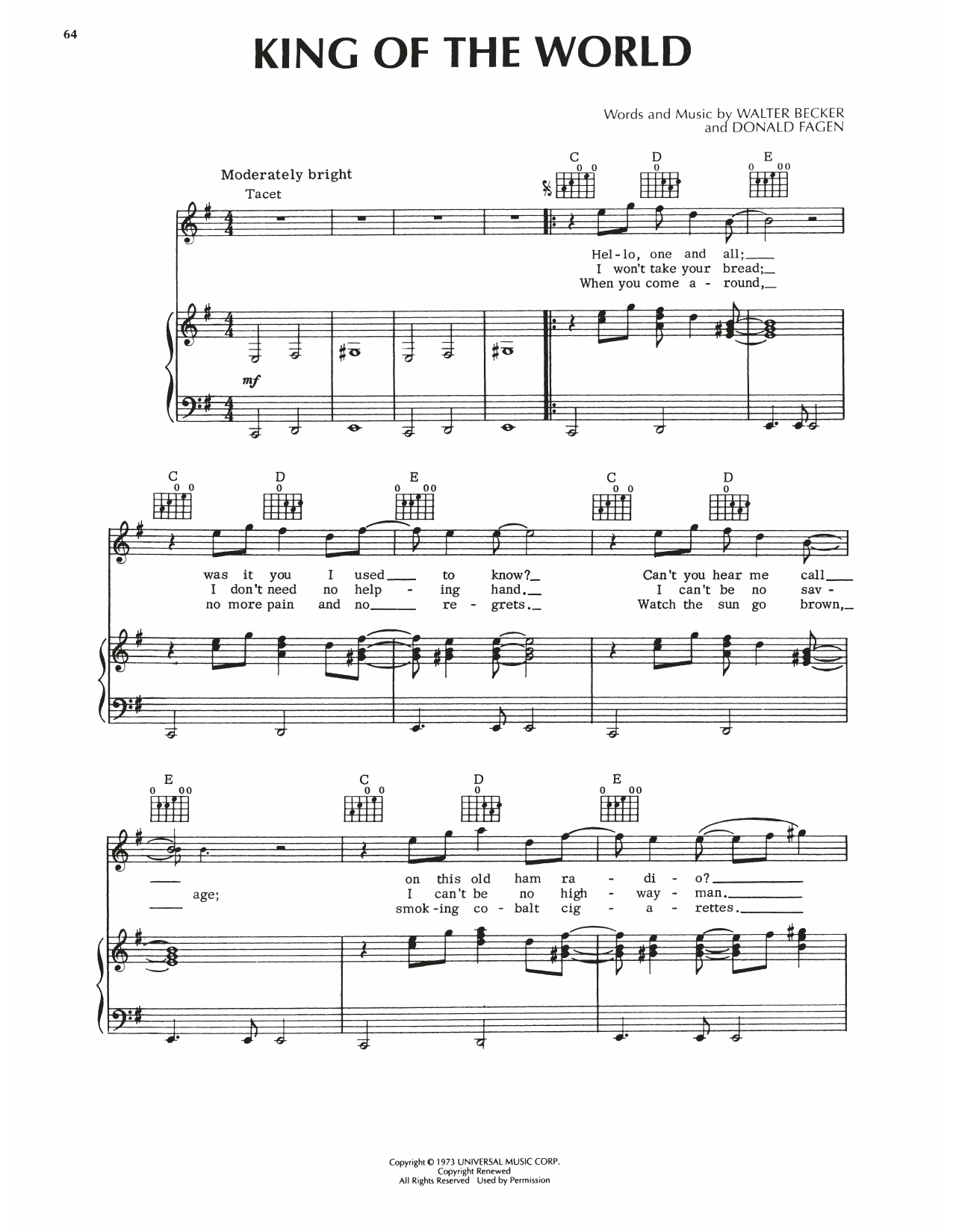 Steely Dan King Of The World sheet music notes printable PDF score