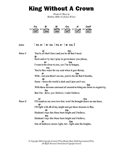 Matisyahu King Without A Crown sheet music notes printable PDF score