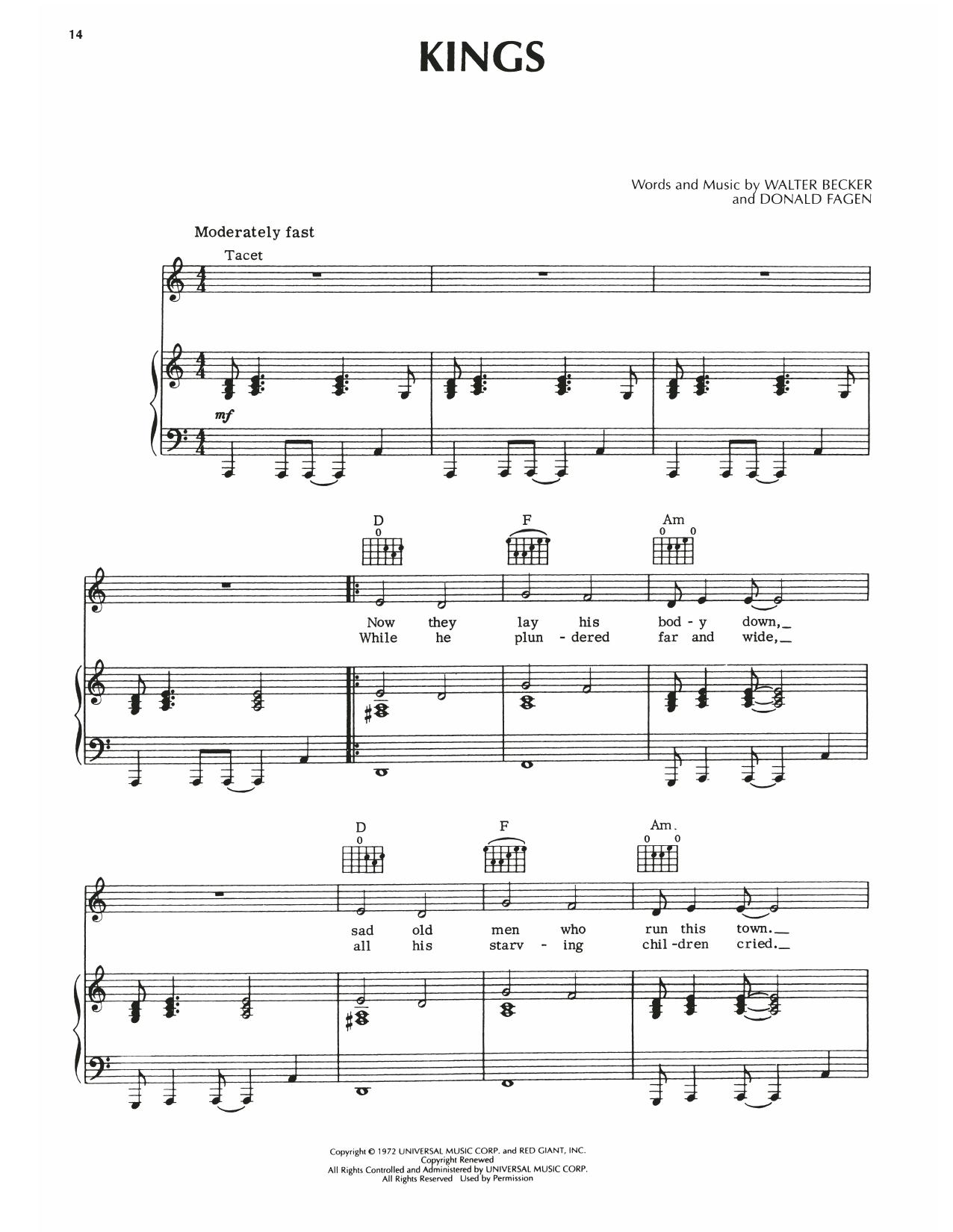 Steely Dan Kings sheet music notes printable PDF score