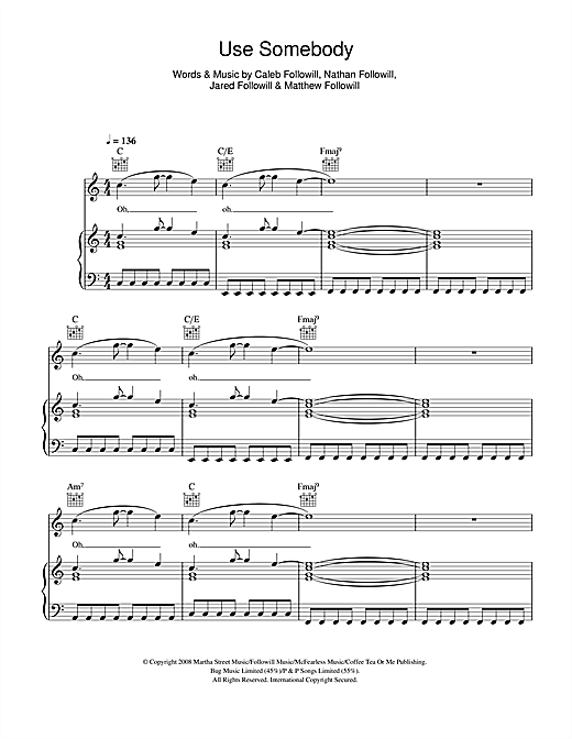 Kings Of Leon Use Somebody sheet music notes and chords. Download Printable PDF.