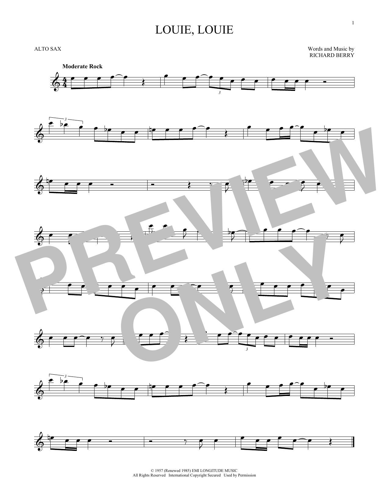 Kingsmen Louie, Louie sheet music notes and chords - download printable PDF.