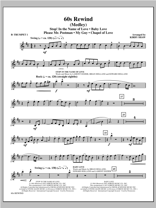 Kirby Shaw 60s Rewind - Bb Trumpet 1 sheet music notes and chords. Download Printable PDF.
