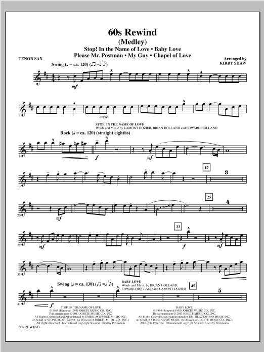 Kirby Shaw 60s Rewind - Tenor Sax sheet music notes and chords. Download Printable PDF.