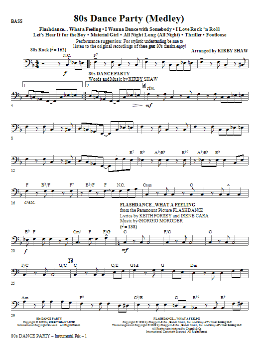 Kirby Shaw 80s Dance Party (Medley) - Bass sheet music notes and chords. Download Printable PDF.