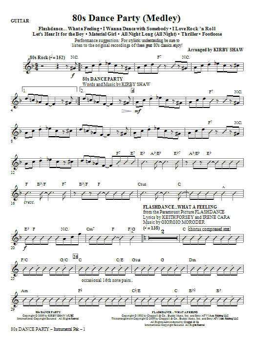 Kirby Shaw 80s Dance Party (Medley) - Guitar sheet music notes and chords. Download Printable PDF.