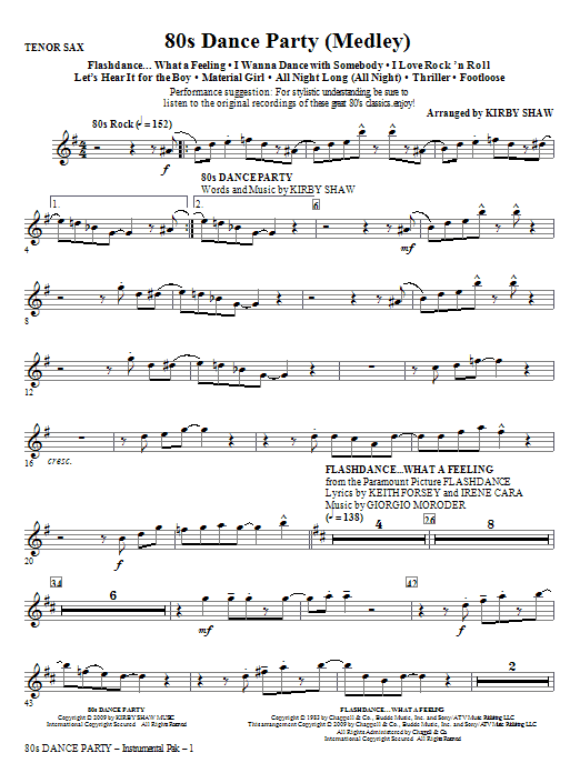 Kirby Shaw 80s Dance Party (Medley) - Tenor Sax sheet music notes and chords. Download Printable PDF.