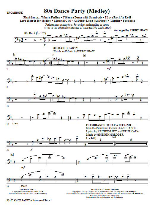 Kirby Shaw 80s Dance Party (Medley) - Trombone sheet music notes and chords. Download Printable PDF.