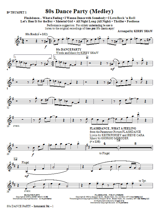 Kirby Shaw 80s Dance Party (Medley) - Trumpet 1 sheet music notes and chords. Download Printable PDF.