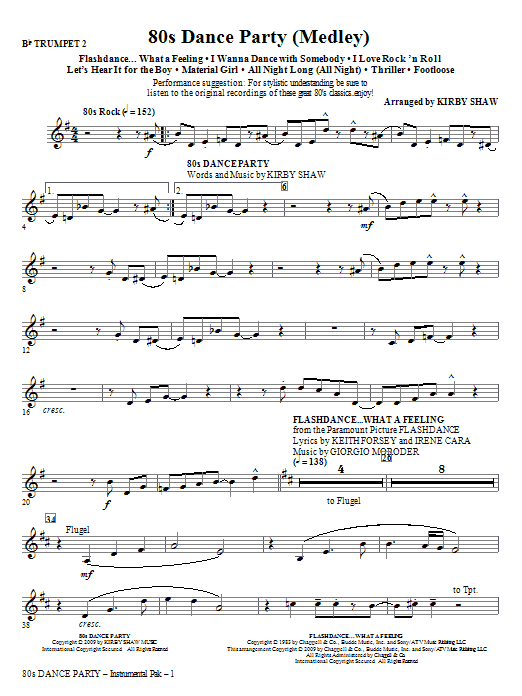 Kirby Shaw 80s Dance Party (Medley) - Trumpet 2 sheet music notes and chords. Download Printable PDF.