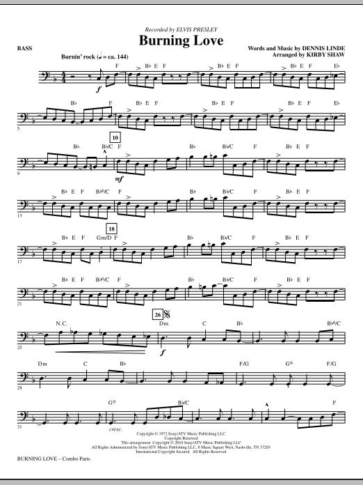 Kirby Shaw Burning Love - Bass sheet music notes printable PDF score