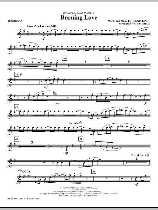Kirby Shaw Burning Love - Tenor Sax sheet music notes printable PDF score