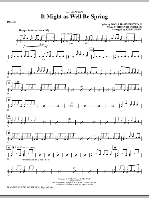 Kirby Shaw It Might As Well Be Spring - Drums sheet music notes printable PDF score