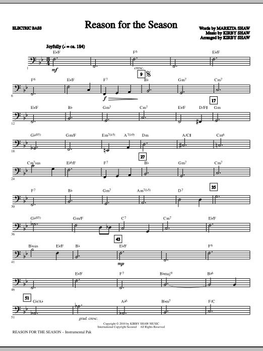 Kirby Shaw Reason For The Season - Bass sheet music notes printable PDF score