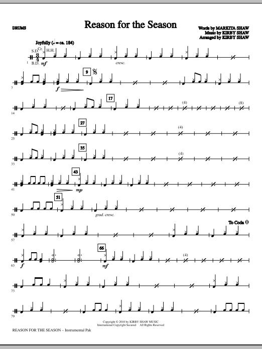 Kirby Shaw Reason For The Season - Drums sheet music notes printable PDF score