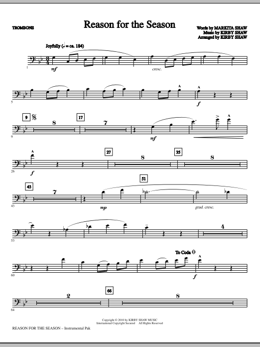 Kirby Shaw Reason For The Season - Trombone sheet music notes printable PDF score