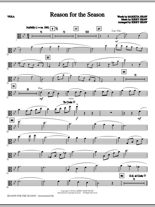 Kirby Shaw Reason For The Season - Viola sheet music notes printable PDF score