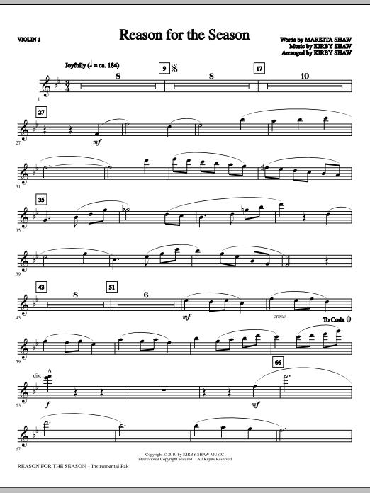 Kirby Shaw Reason For The Season - Violin 1 sheet music notes printable PDF score