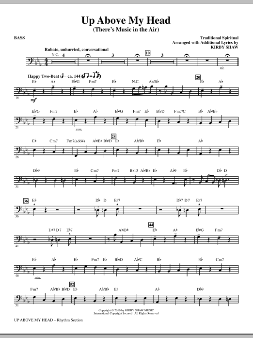 Kirby Shaw Up Above My Head (There's Music In The Air) - Bass sheet music notes printable PDF score