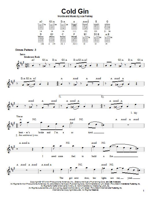KISS Cold Gin sheet music notes and chords. Download Printable PDF.