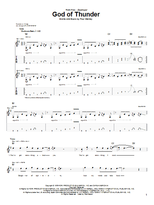 KISS God Of Thunder sheet music notes and chords. Download Printable PDF.