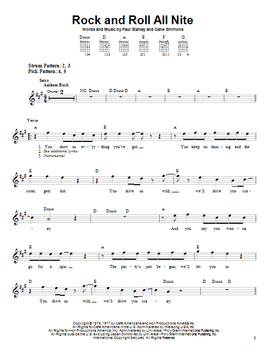 KISS Rock And Roll All Nite sheet music notes and chords. Download Printable PDF.