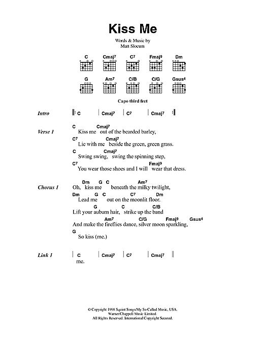 Sixpence None The Richer Kiss Me sheet music notes printable PDF score
