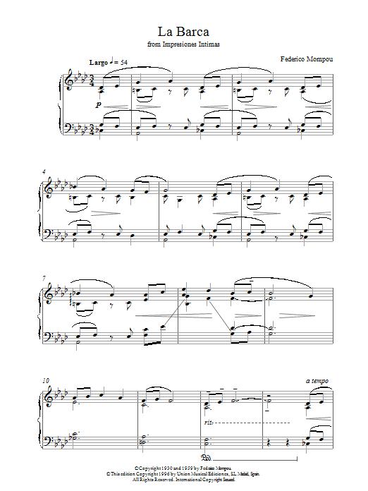Mompou La Barca From Impresiones Intimas sheet music notes printable PDF score