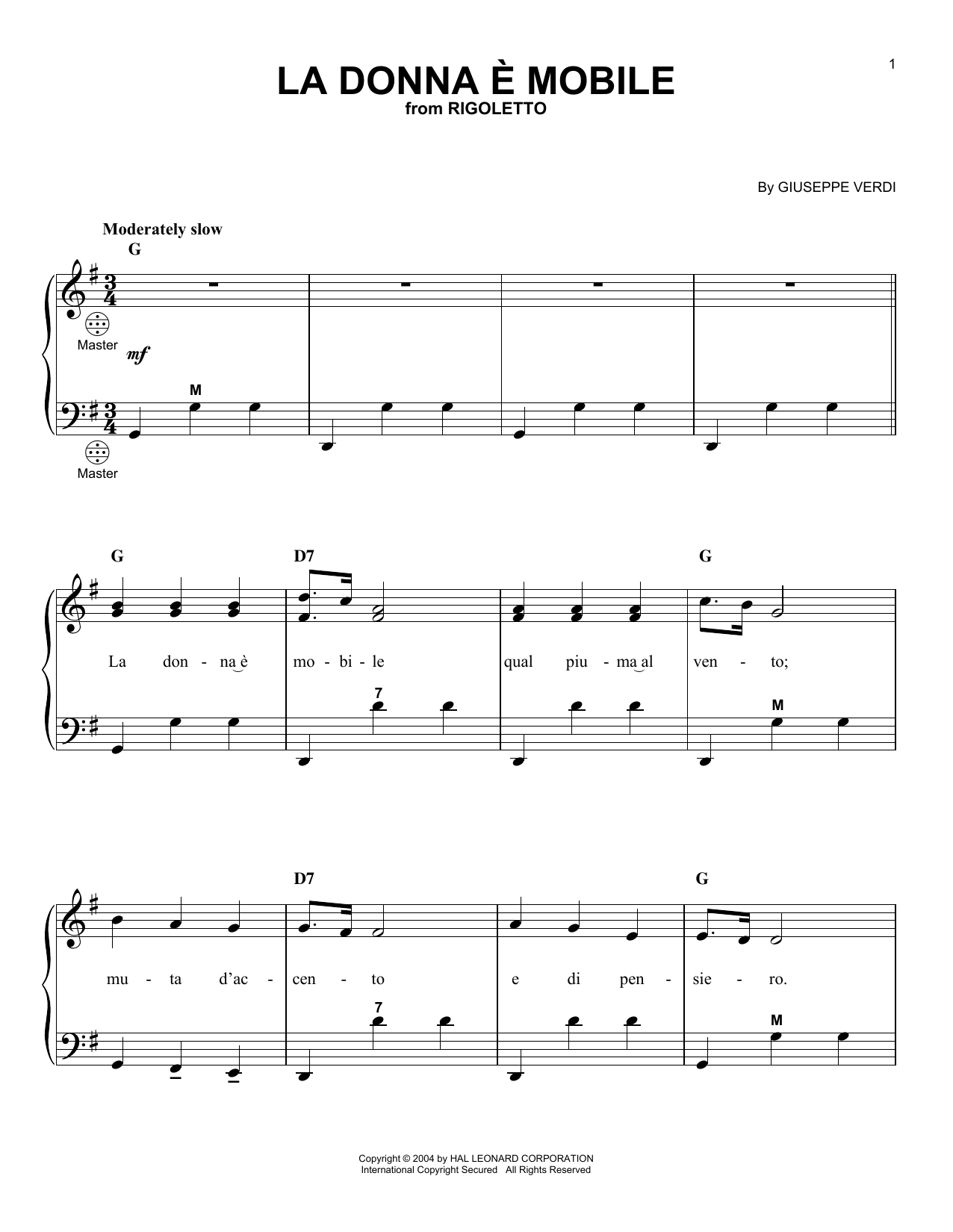 Giuseppe Verdi La Donna e Mobile sheet music notes printable PDF score