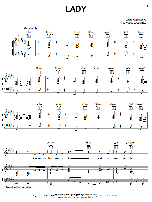 The Whispers Lady sheet music notes printable PDF score