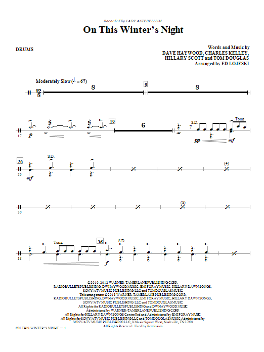 Ed Lojeski On This Winter's Night - Drums sheet music notes and chords. Download Printable PDF.