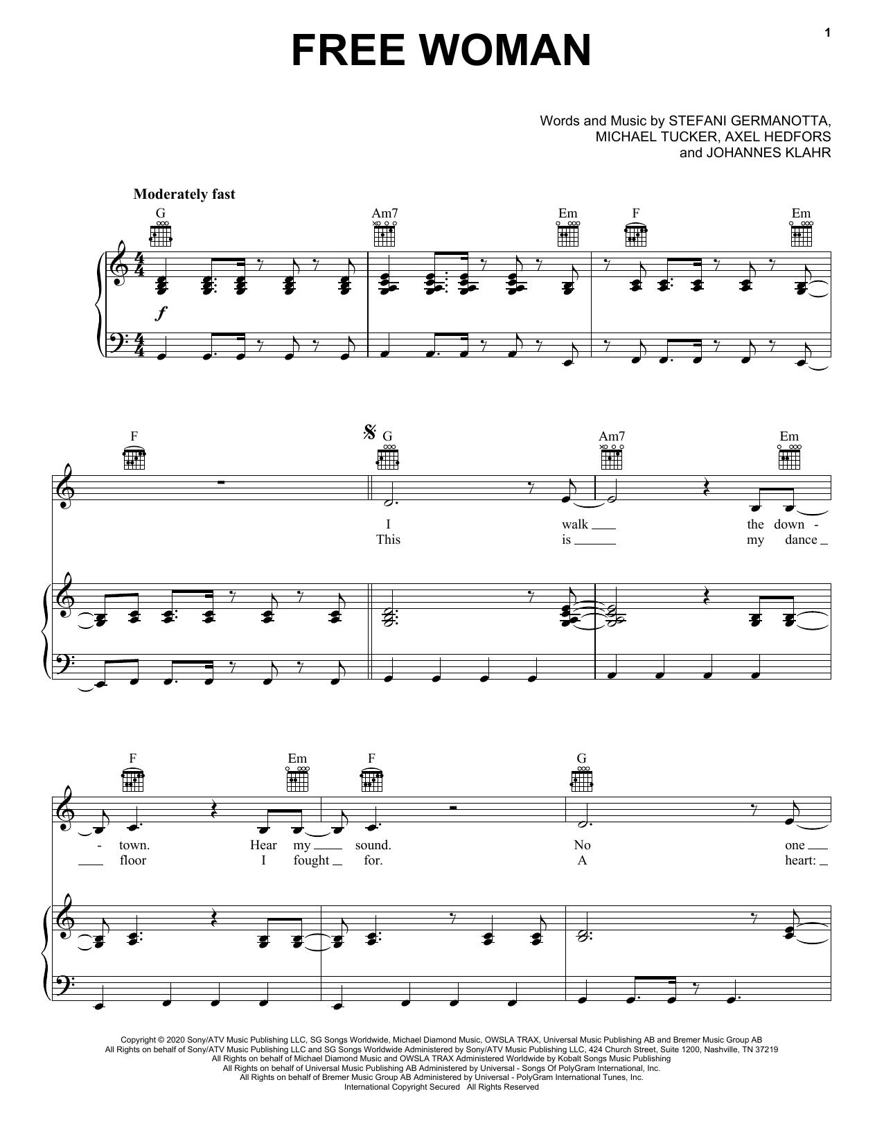 Lady Gaga Free Woman sheet music notes and chords. Download Printable PDF.