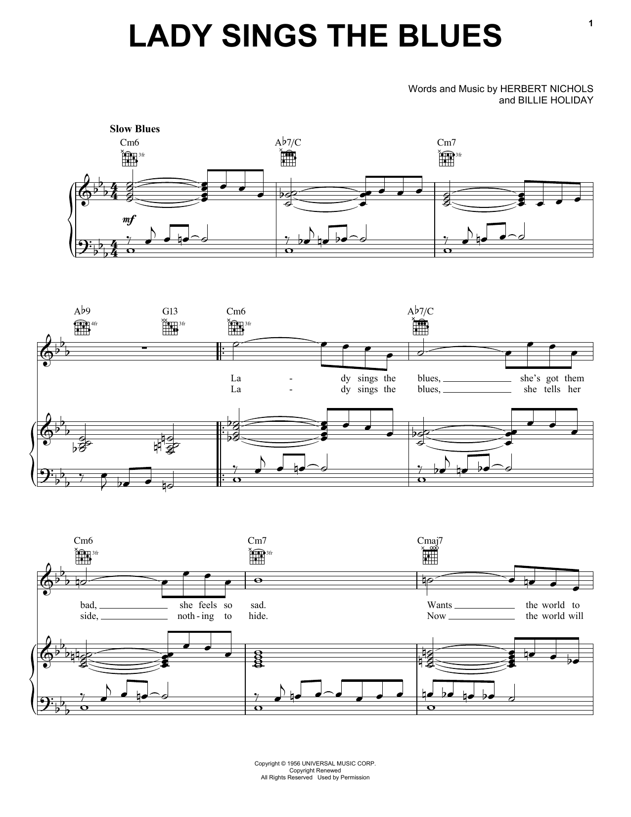 Billie Holiday Lady Sings The Blues sheet music notes printable PDF score