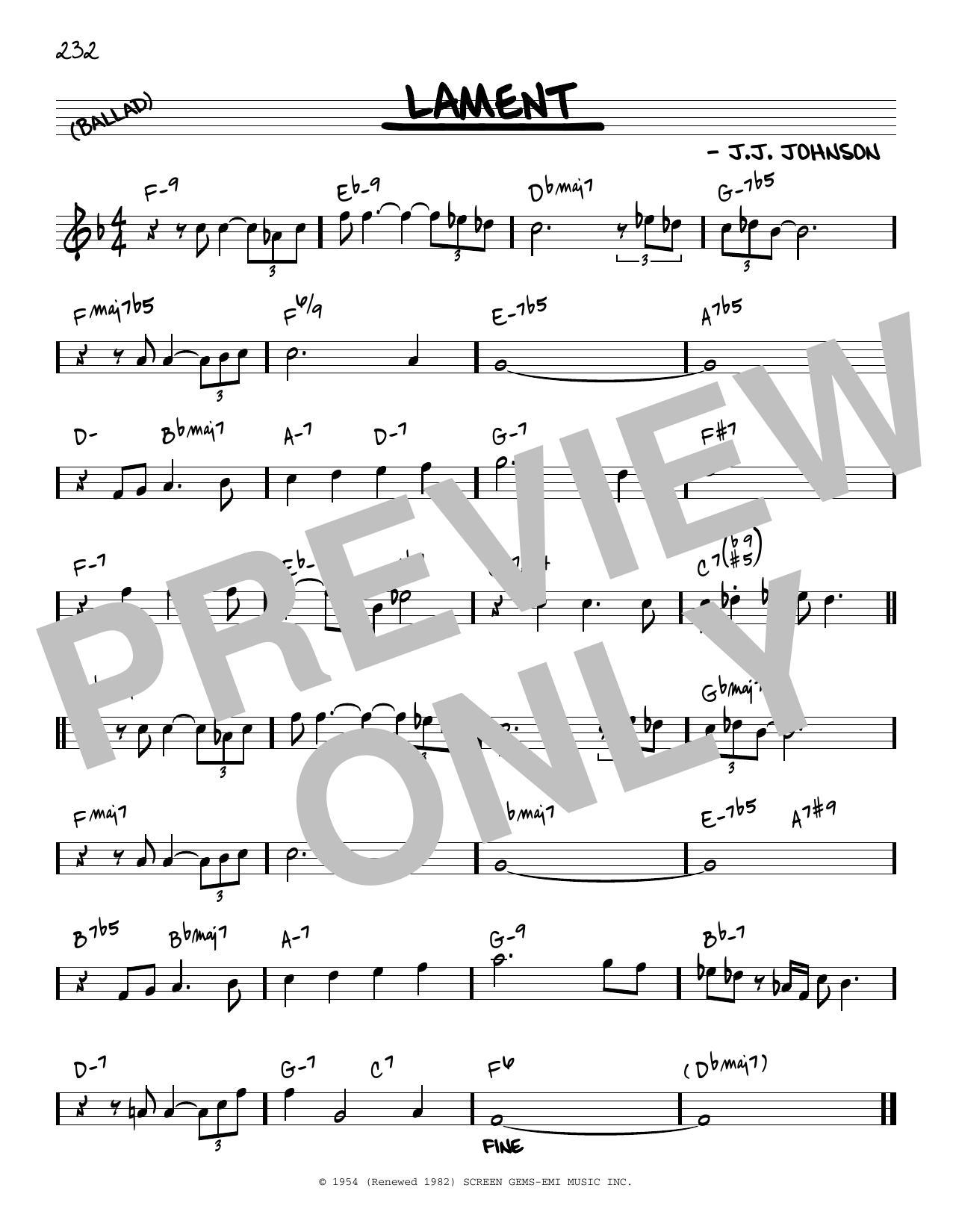 J.J. Johnson Lament [Reharmonized version] (arr. Jack Grassel) sheet music notes printable PDF score